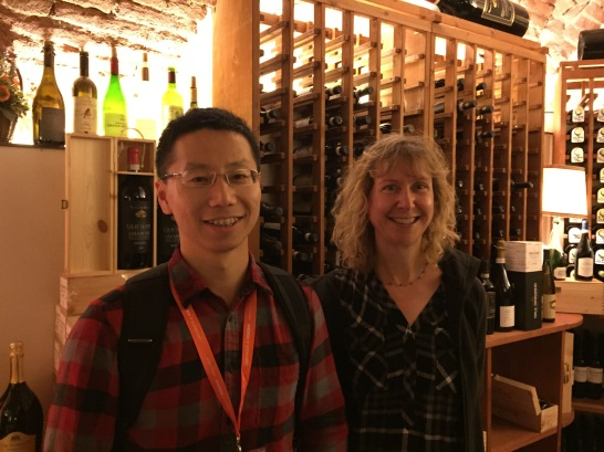 Yifan Yang and Rachel Walker at conference dinner
